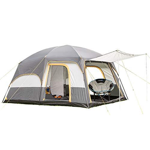 skandika Tønsberg 5 Personen Campingzelt mit großem Wohnraum, eingenähtem Zeltboden, abnehmbarem Überzelt und 4.000 mm Wassersäule (grau)