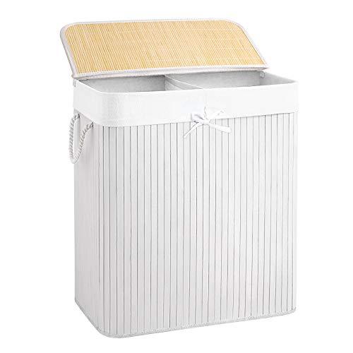 Wäschekorb 100 L Bambus Weiß