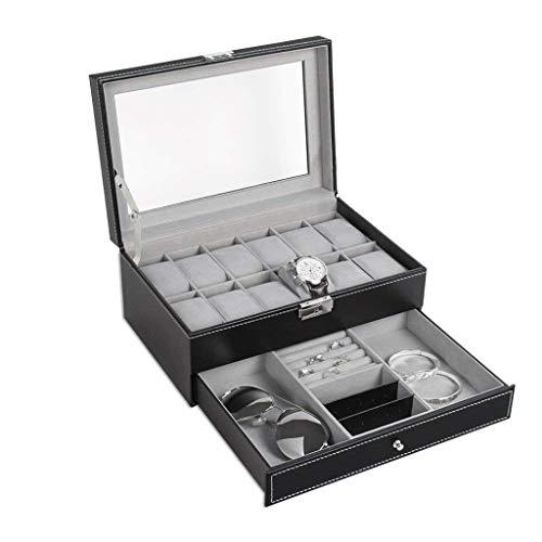XZJJZ Watch Box-12 Slots PU-Leder-Kasten-Organisatoren mit Schmuck Schublade for die Speicherung und Anzeige