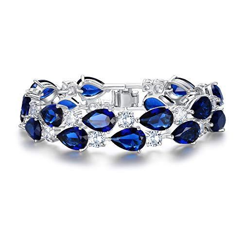 EVER FAITH Women's Prong Cubic Zirconia Vintage Style Dual Layer Tear Drop Bracelet Blue Silver-Tone
