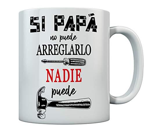 Taza - Si Papá no Puede Nadie Puede Tazas Papa para Padres Regalo Dia del Padre 350ml Blanco