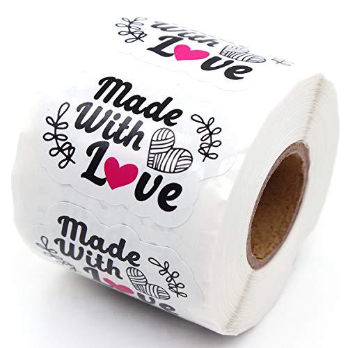 Muminglong 1.5 Inch Made with Love Sticker, Thank You Sticker,Small Shop Sticker, Small Business, Handmade Sticker,Packaging Sticker, 500 PCS