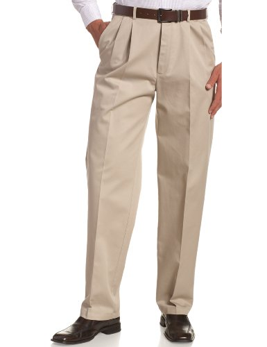 Haggar Men's Work To Weekend Khakis Hidden Expandable Waist No Iron Pleat Front Pant,Khaki,40x34