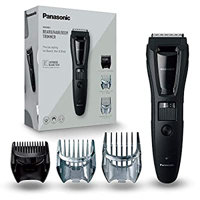 Panasonic ER-GB61-K503 – Trimmer for Men Body, Beard and Head (3 in 1, Rechargeable, Stainless Steel, Long Battery Life, 39 Settings, 3 Accessories Included) Black/Silver