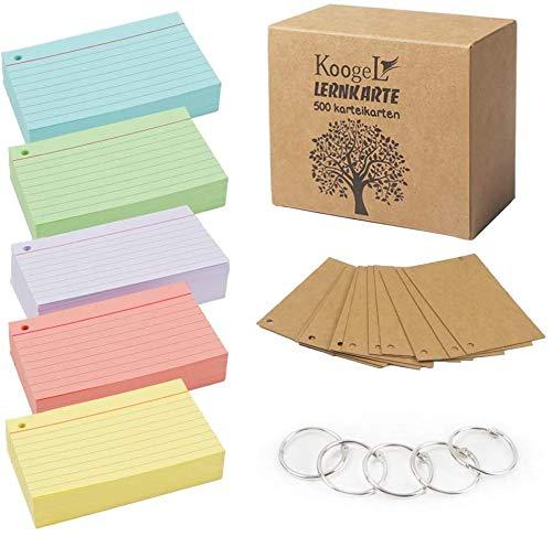 Koogel A8 linierte Karteikarten, 500 Stück, verschiedene Farben, Karteikarten für Büro, Schule, Lernen