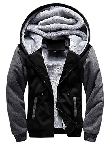 Men's Pullover Winter Workout Fleece Hoodie Jackets Full Zip Wool Warm Thick Coats