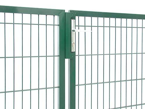 Zaun-Nagel Gartentor Doppeltor Hoftor grün 2- flügelig Höhe 100 cm/Breite 300 cm passend zum Doppelstabmattenzaun inkl. Pfosten Schloss Schließblech Bodenschieber Türstopper Kloben