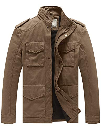 WenVen Men's Cotton Military Casual Stand Collar Field Jacket (Khaki, Large)