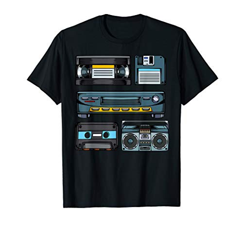 90er Party Style Retro Vintage Outfits Diskette VHS Video  T-Shirt