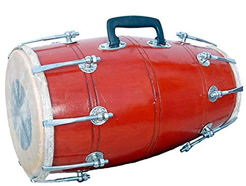Makan Red Solid Wood Hand Made Sheesham Dhol/Dholak/Dholki Drum With Carry Bag