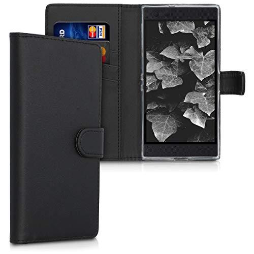 kwmobile Wallet Hülle kompatibel mit Razer Phone 2 - Hülle Kunstleder mit Kartenfächern Stand in Schwarz