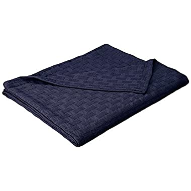 eLuxurySupply Basket Weave Blanket - 100% Soft Premium Cotton Blanket - Perfect for Layering Any Bed, Full/Queen, Navy Blue