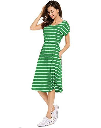 Halife Womens Crew Neck Cap Sleeve Summer Casual Flared Midi Dress Green,XL