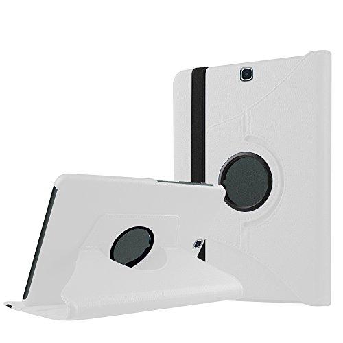 Luch Samsung Galaxy Tab A 9.7 Hülle, 360° Grad rotierend Schutzhülle Stand Case Cover Kunstleder Hülle Etui mit Auto Schlaf/Wach Funktion für Samsung Galaxy Tab A 9,7\'\' Zoll T550N / T555N, Weiß