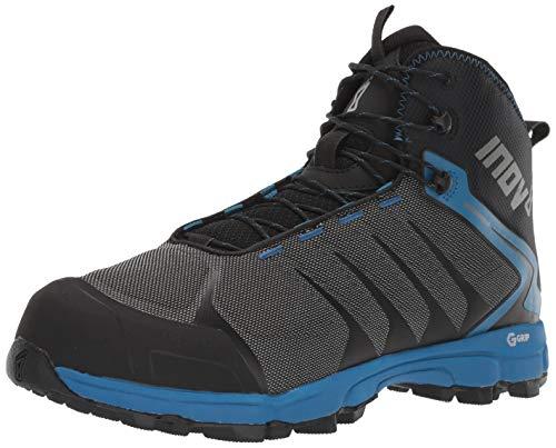 Inov-8 Mens Roclite G 370 - Waterproof Hiking Boots - Lightweight, Breathable - Graphene Grip - Mid Boot Fit - Vegan - Black/Blue 9 M US