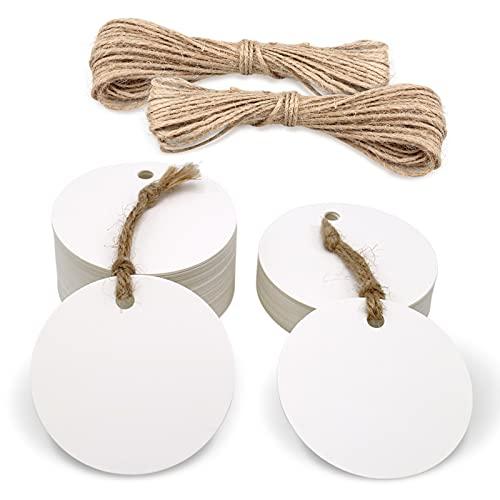 100pcs Etiquetas Papel Kraft Redondas 5,5cm para Regalos de Boda/Cumpleaños/Navidad, Bricolaje, con 30M Cordel de Yute (blanco)