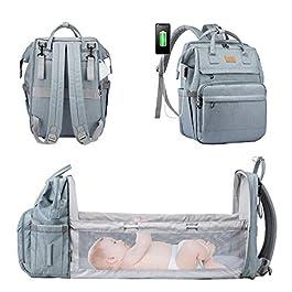 LOVEVOOK Sac a Langer Sac à Dos à Langer Sac a Dos Bebe Lit Mommy Bag Sac Maternité Sac a Couche Imperméablesac de…