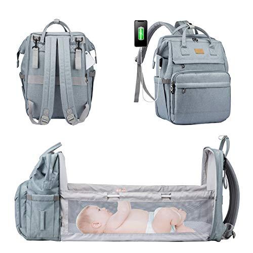 LOVEVOOK Mochila para pañales de bebé con cuna, bolso cambiador, mochila de viaje, gran capacidad, impermeable, color azul claro