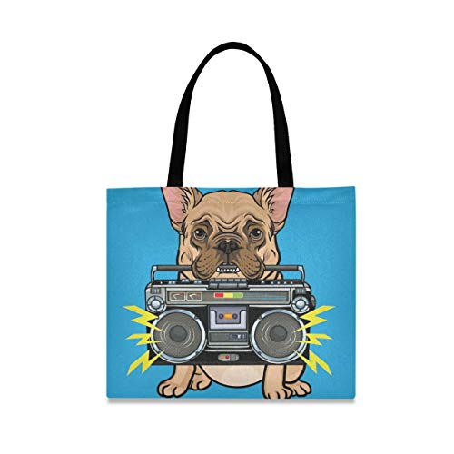 Cute Dog and Ghettoblaster Tote Bag, Extra Large Reusable