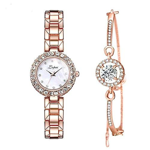 2 Pack Elegant Rose Gold Women Watch Set Rhinestone Watch and Bracelet for Ladies