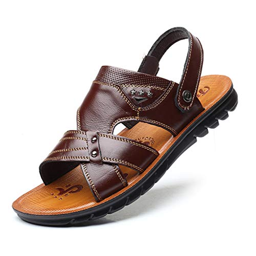 REALIKE Herren Sandalen Hausschuhe Flache Schuhe Retro Sommerschuhe Einfarbig Plateausandalen Mode Schuhe Knöchel Schnalle Peep Toe Schwarz Freizeitschuhe Bequem Touch Strandsandalen