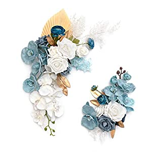 Ling's moment Artificial Flower Arrangement for Wedding Ceremony Sign Floral Decoration – Pack of 2