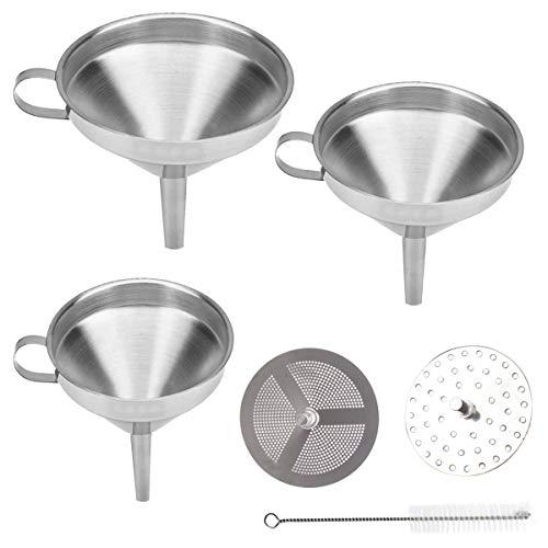 6 piezas Set de Embudos de Cocina,Embudo de acero Inoxidable con Mango Embudo Filtro para Cocinar y Transvasar Líquidos o Polvo(12cm/13cm/20cm)