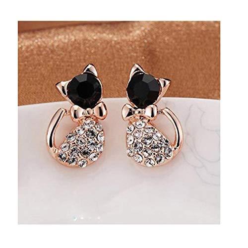 NOBRAND Pendientes de Moda Joyas de Cristal Pendientes de Gato de Diamantes de imitación Bonitos Pendientes de botón de Gato Lindo para Mujeres Regalo de niñas