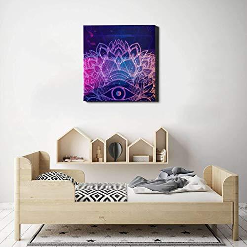 JEOLVP Dekoration Wand Alle sehen Auge auf Indigo Space Home Wandfarbe Wandkunst für Küche Dekor 20 x 20 Zoll (50x50cm) Wandkunstwerke Bilder für Wohnzimmer Schlafzimmer Dekoration