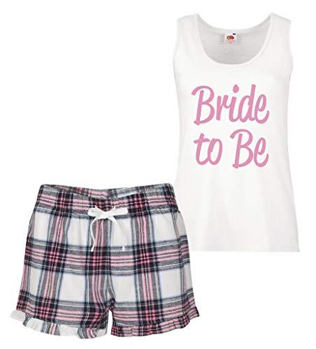 60 Second Makeover Limited Angehende Braut Pyjama Set Pink Schottenkaro Rüsche Hochzeit Junggesellinnenabschied - Rosa, Medium (UK 12)