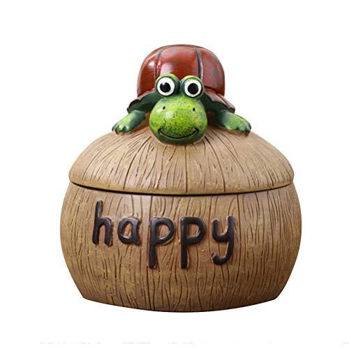 VOSAREA Cenicero Happy Windcenicero giratorio con tapa tortuga cenicero para casa decoración de mesa