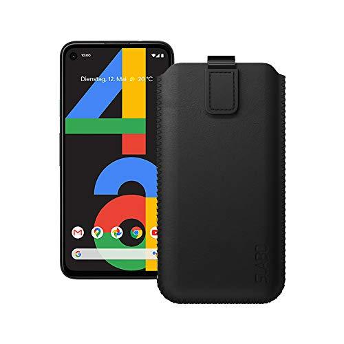 Slabo Schutzhülle für Google Pixel 4a Schutztasche Handyhülle Hülle mit Magnetverschluss aus Kunstleder - SCHWARZ | Black