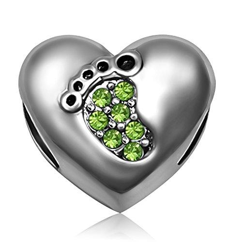 JMQJewelry Family Grandma Baby Love Heart Mother Son Footprints Birthstone Birthday August Green Charm for Bracelets Women Girls Jewelry Sister Wife Gifts