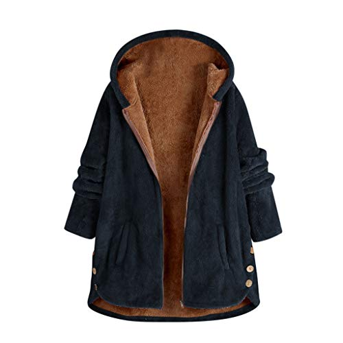Deloito Damen Übergröße Teddyjacke Plüschmantel mit Kapuze Knopf Winterjacke Frauen Freizeit Sweatshirt Langarm Windbreaker Teddy-Fleece Mantel (Marine,XXXXX-Large)