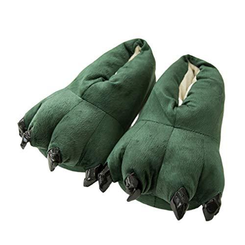 Olddreaming-New - Zapatillas de algodón para hombre, diseño de monstruo con garra de dinosaurio, lindas zapatillas de invierno suaves y cálidas, divertidas para el hogar, regalo de San Valentín
