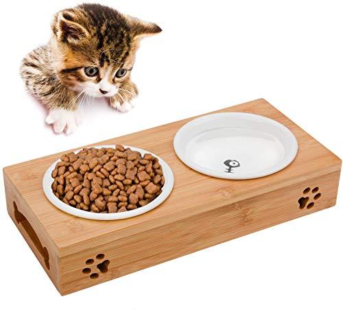 Uotyle Katze Napf-Set, Katzennäpfe Keramik Set mit Bambus Ständer Haustier-Zufuhr Bambus Stent Doppel Schüssel für Hund Katze
