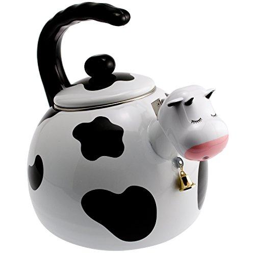Handgefertigte Emaille Wasserkocher Teekanne Teekessel für Herd Gasherd Induktionskochfeld, 2,5 Liter - Kuh-Design