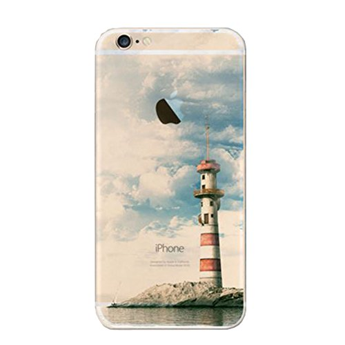 iPhone 6 Plus Case, iPhone 6S Plus Case, JYtrend Design Clear TPU Soft Case Rubber Silicone Skin Shock-Absorption Protector Cover for iPhone 6 Plus 6S Plus (Lighthouse)