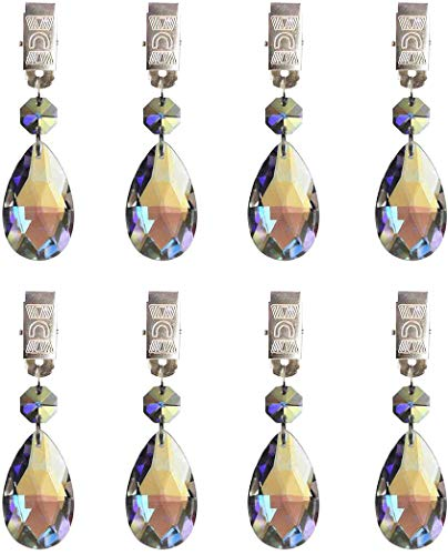 Hyamass 8pcs Metal Clip AB Crystal Glass Teardrop Prisms Pendant Tablecloth Weights