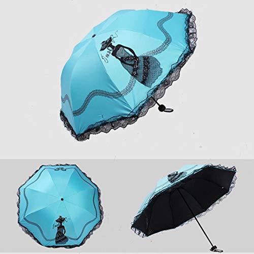 Xmjj Vouwen Paraplu Voor Vrouwen Merk Reizen Anti-UV Winddichte Vrouwelijke Paraplu Kant Borduurwerk Zon Lady Paraplu's