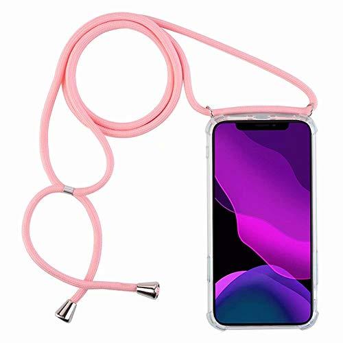 2ndSpring Funda con Cuerda Compatible con Xiaomi Redmi Note 9 / Redmi 10X 4G,Colgante Collar Correa de Cuello Cadena Cordón,Pink