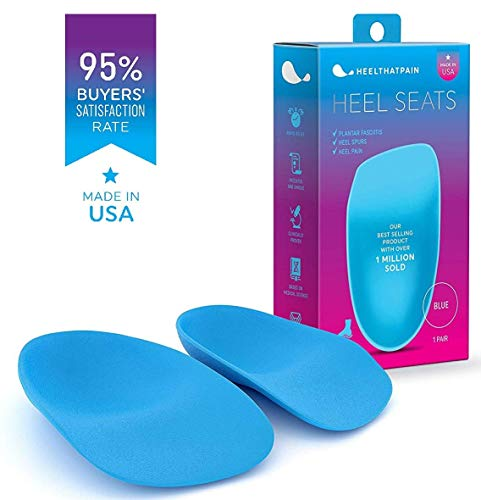 Heel That Pain Plantar Fasciitis Insoles   Heel Seats Foot Orthotic Inserts, Heel Cups for Heel Pain and Heel Spurs   Patented, Clinically Proven, 100% Guaranteed   Blue, Medium (W 6.5-10, M 5-8)