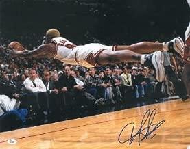 Signed Dennis Rodman Picture - 16X20 Horizontal Diving blue sig)- Hologram - JSA Certified - Autographed NBA Photos
