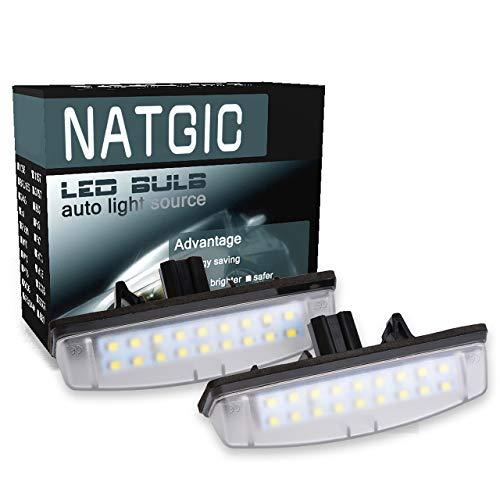 NATGIC 1 Paire éclairage de Plaque d'immatriculation 3528 puces 18SMD Intégré Can-Bus étanche LED Plaque d'immatriculation Lumière Numéro Plaque d'immatriculation Lampe Assemblée 12V 2W - 6000K Blanc