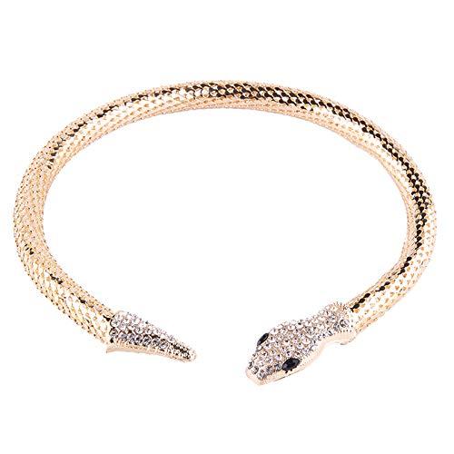 ZSCRL Anillo de Cuello con incrustación de Diamantes en aleación Europea y Americana, Exquisito diseño de Diamante con Forma de Serpiente Hueca