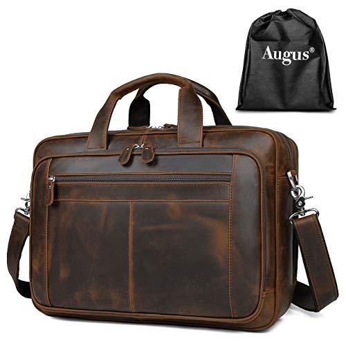 Augus Business Travel Briefcase Genuine Leather Duffel Bags for Men Laptop Bag fits 15.6 inches Laptop YKK Metal Zipper (Dark brown)