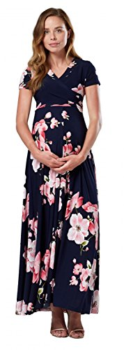 HAPPY MAMA. Damen 2in1 Umstands gerafften Stillkleid Maxikleid Kurz Ärmel.599p (Style 1, 36, S)