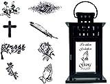 UDIG Trauer-Laterne Metall schwarz Mod. 4 mit ind. Text und Motiv 28x15,5x15,5 cm Grablaterne...