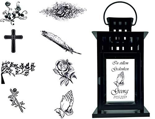 UDIG Trauer-Laterne Metall schwarz Mod. 4 mit ind. Text und Motiv 28x15,5x15,5 cm Grablaterne Grablicht Trauerlaterne Trauerlicht