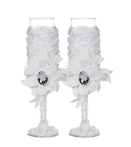 Copas de vino con diamantes de imitación de encaje hechas a mano para novia, novio y novio, copas de champán para tostar, regalos de boda, regalos para parejas, decoraciones de boda Blanco-c